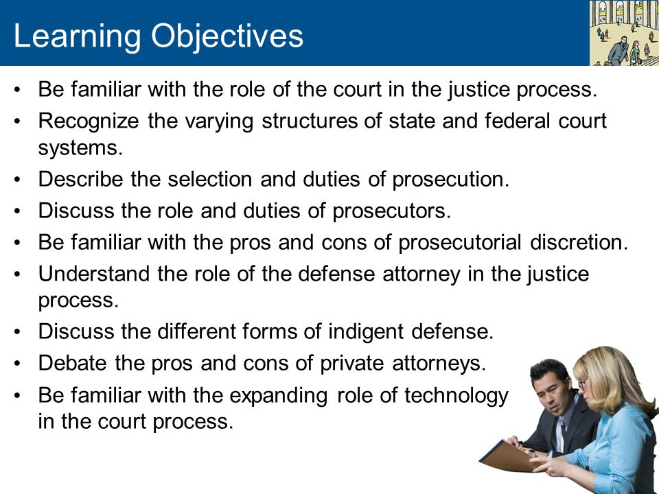 Learning Objectives Be familiar with the role of the court in the justice process.