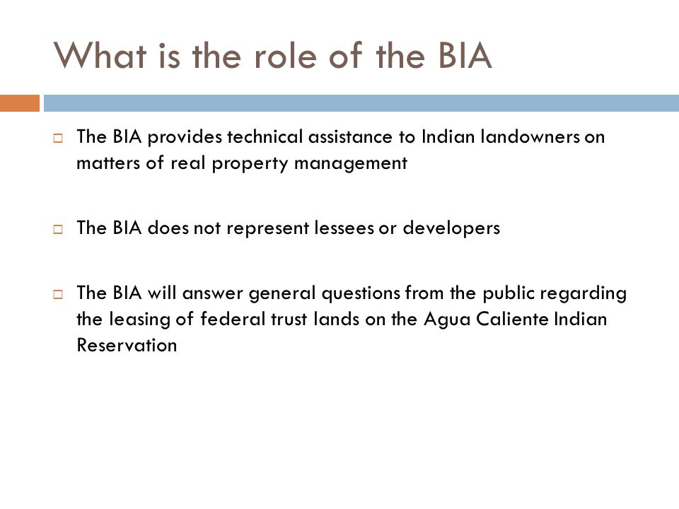 What is the role of the BIA  The BIA provides technical assistance to Indian landowners on matters of real property management  The BIA does not rep