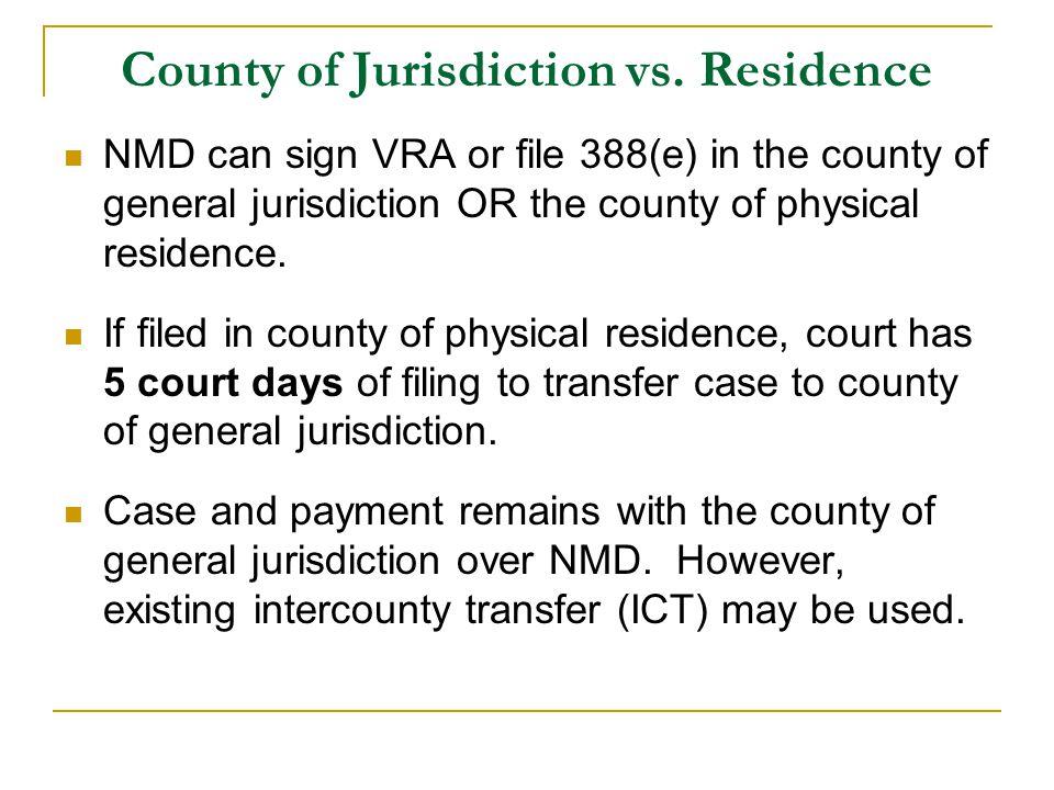 County of Jurisdiction vs.