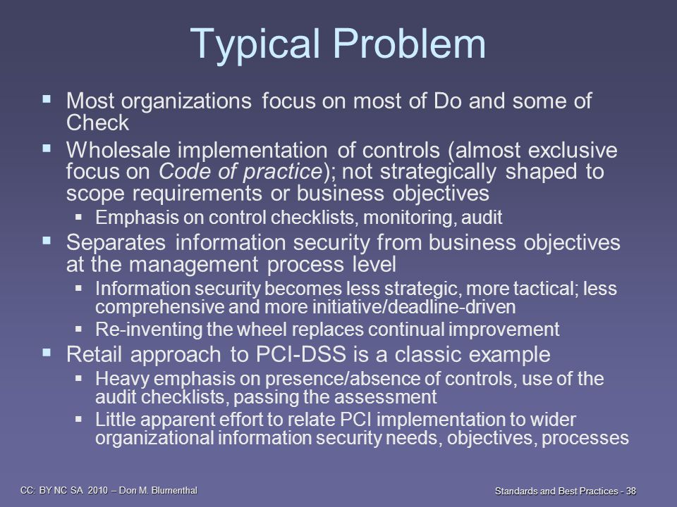CC: BY NC SA 2010 – Don M. Blumenthal Standards and Best Practices - 38 Typical Problem  Most organizations focus on most of Do and some of Check  W