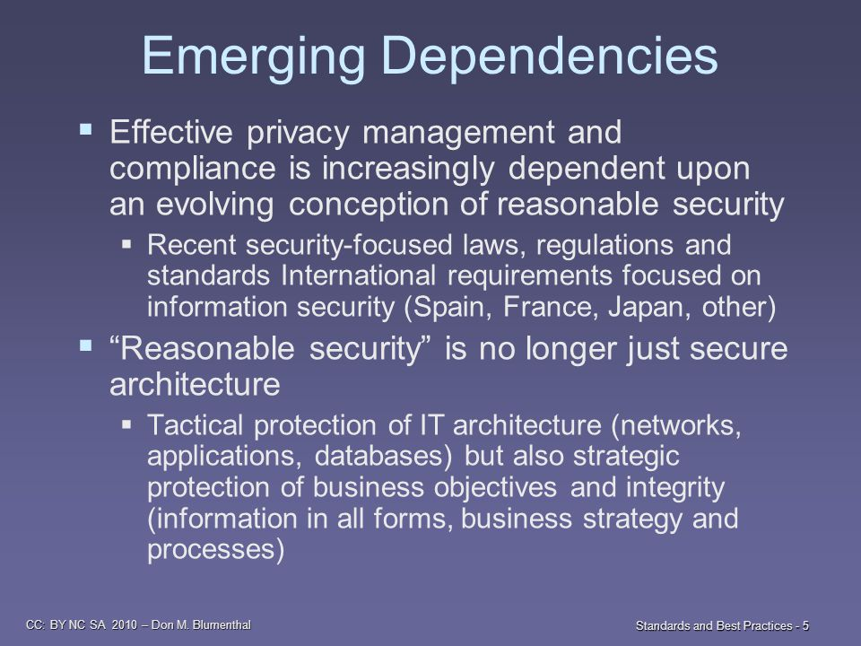 CC: BY NC SA 2010 – Don M. Blumenthal Standards and Best Practices - 5 Emerging Dependencies  Effective privacy management and compliance is increasi