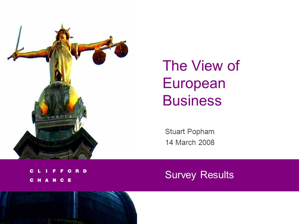 The View of European Business Stuart Popham 14 March 2008 Survey Results
