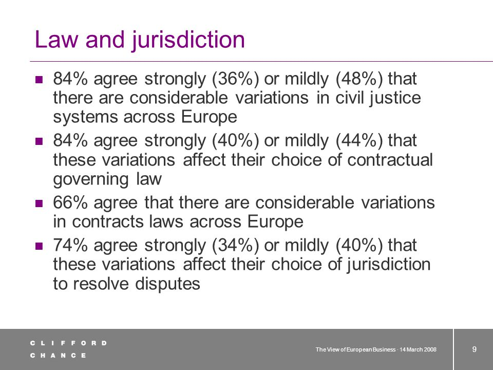 The View of European Business · 14 March 2008 9 Law and jurisdiction 84% agree strongly (36%) or mildly (48%) that there are considerable variations i