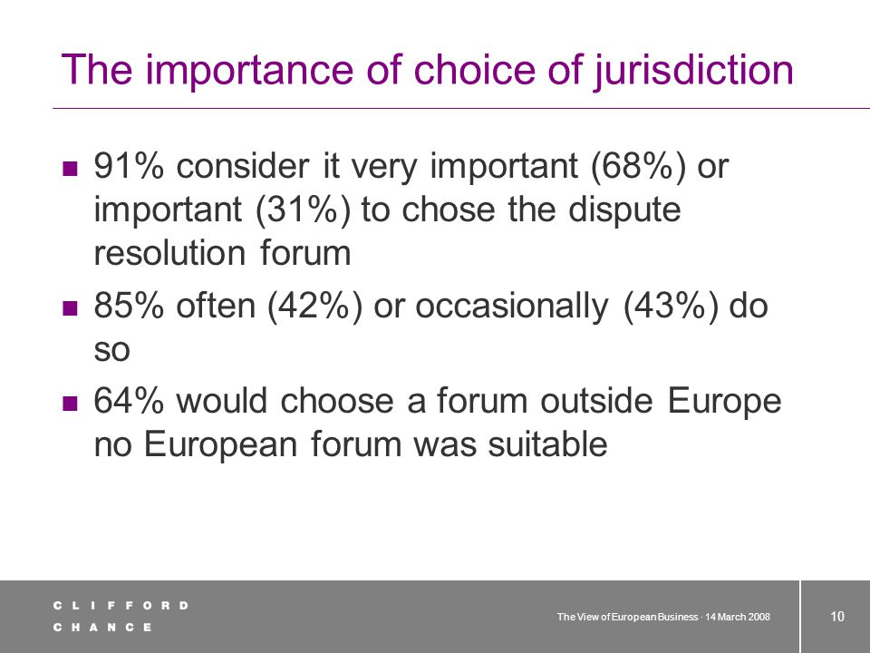 The View of European Business · 14 March 2008 10 The importance of choice of jurisdiction 91% consider it very important (68%) or important (31%) to chose the dispute resolution forum 85% often (42%) or occasionally (43%) do so 64% would choose a forum outside Europe no European forum was suitable