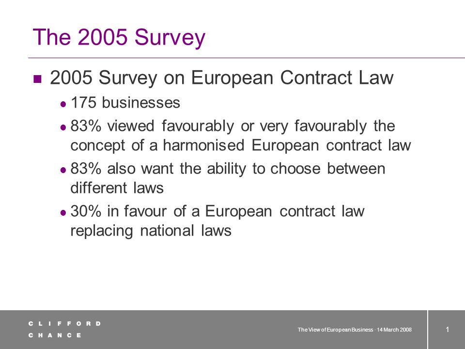 The View of European Business · 14 March 2008 1 The 2005 Survey 2005 Survey on European Contract Law 175 businesses 83% viewed favourably or very favourably the concept of a harmonised European contract law 83% also want the ability to choose between different laws 30% in favour of a European contract law replacing national laws