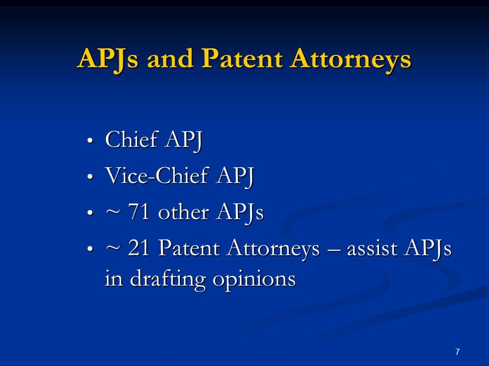 7 APJs and Patent Attorneys Chief APJ Chief APJ Vice-Chief APJ Vice-Chief APJ ~ 71 other APJs ~ 71 other APJs ~ 21 Patent Attorneys – assist APJs in d