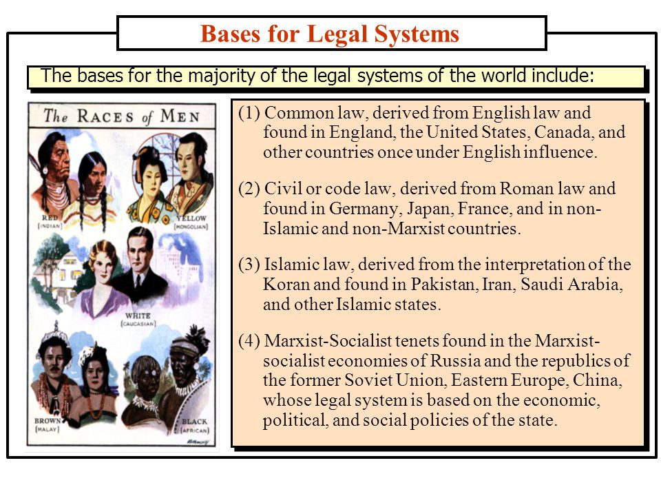 (1) Common law, derived from English law and found in England, the United States, Canada, and other countries once under English influence.
