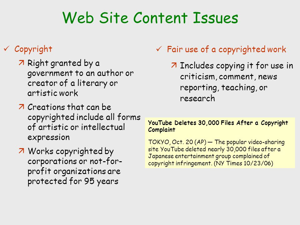 Web Site Content Issues Copyright äRight granted by a government to an author or creator of a literary or artistic work äCreations that can be copyrig