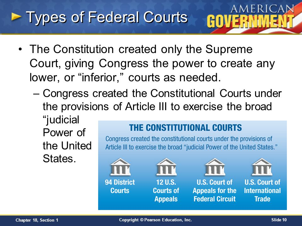 Copyright © Pearson Education, Inc.Slide 10 Chapter 18, Section 1 Types of Federal Courts The Constitution created only the Supreme Court, giving Cong