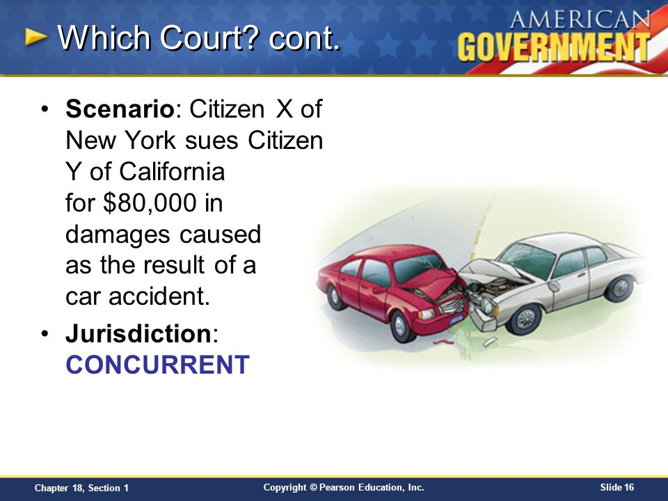 Copyright © Pearson Education, Inc.Slide 16 Chapter 18, Section 1 Which Court? cont. Scenario: Citizen X of New York sues Citizen Y of California for