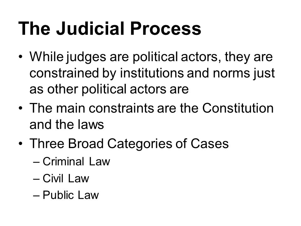 The Judicial Process While judges are political actors, they are constrained by institutions and norms just as other political actors are The main con
