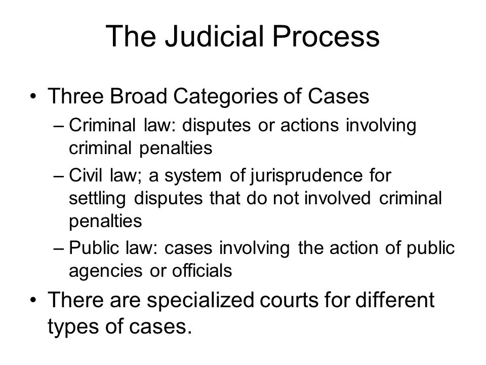 Three Broad Categories of Cases –Criminal law: disputes or actions involving criminal penalties –Civil law; a system of jurisprudence for settling dis