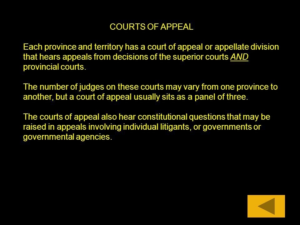 COURTS OF APPEAL Each province and territory has a court of appeal or appellate division that hears appeals from decisions of the superior courts AND