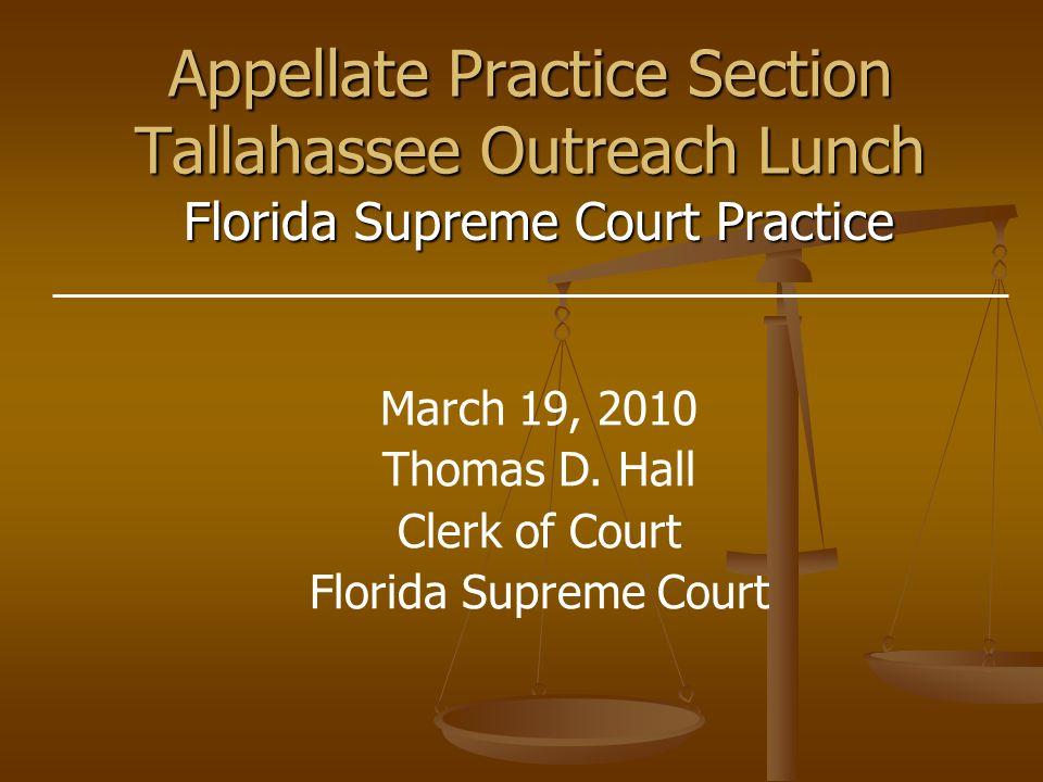 Rules of Procedure Rules of Procedure  Appellate  Judicial Administration IOP's IOP's Website – www.floridasupremecourt.org Website – www.floridasupremecourt.org Operation & Jurisdiction of Fla.