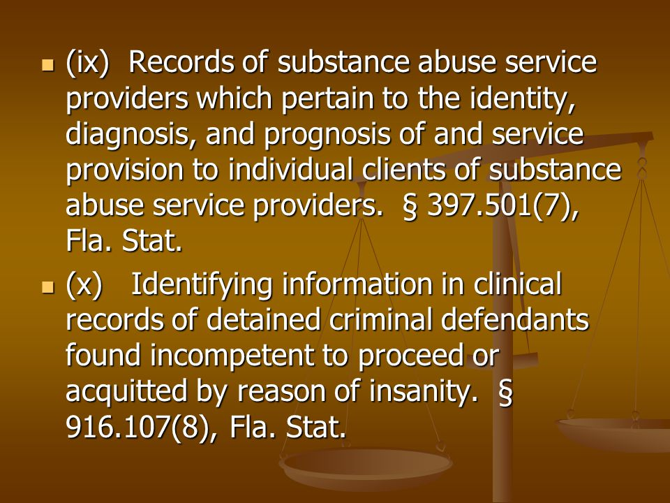 (ix) Records of substance abuse service providers which pertain to the identity, diagnosis, and prognosis of and service provision to individual clients of substance abuse service providers.