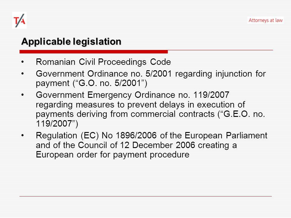 Applicable legislation G.O.no. 5/2001, art.