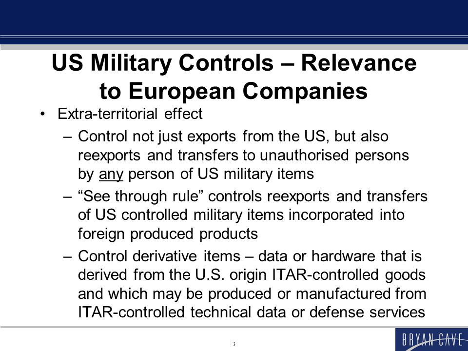 44 Specific USML Categories Subcategory VIII(h) applies if designer or modifier intended that part or component be – designed (i.e., planned) or – modified (i.e., changed or altered in any way) specifically (i.e., particularly) for a controlled military aircraft (even if part or component is no more sophisticated than a similar item for use with a commercial end-item)