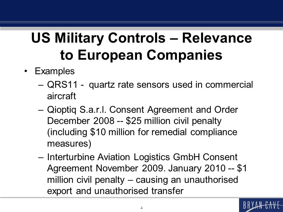 65 France Items originally designed or modified for military use will generally fall within the scope of weaponry or assimilated equipment subject to military export controls –If now have predominant civilian applications, not clear if it can move to dual-use Detailed description in decrees and the Arrêté of June 17, 2009 Self determination permissible – liability if wrong Can address a request to the Ministry of Defence