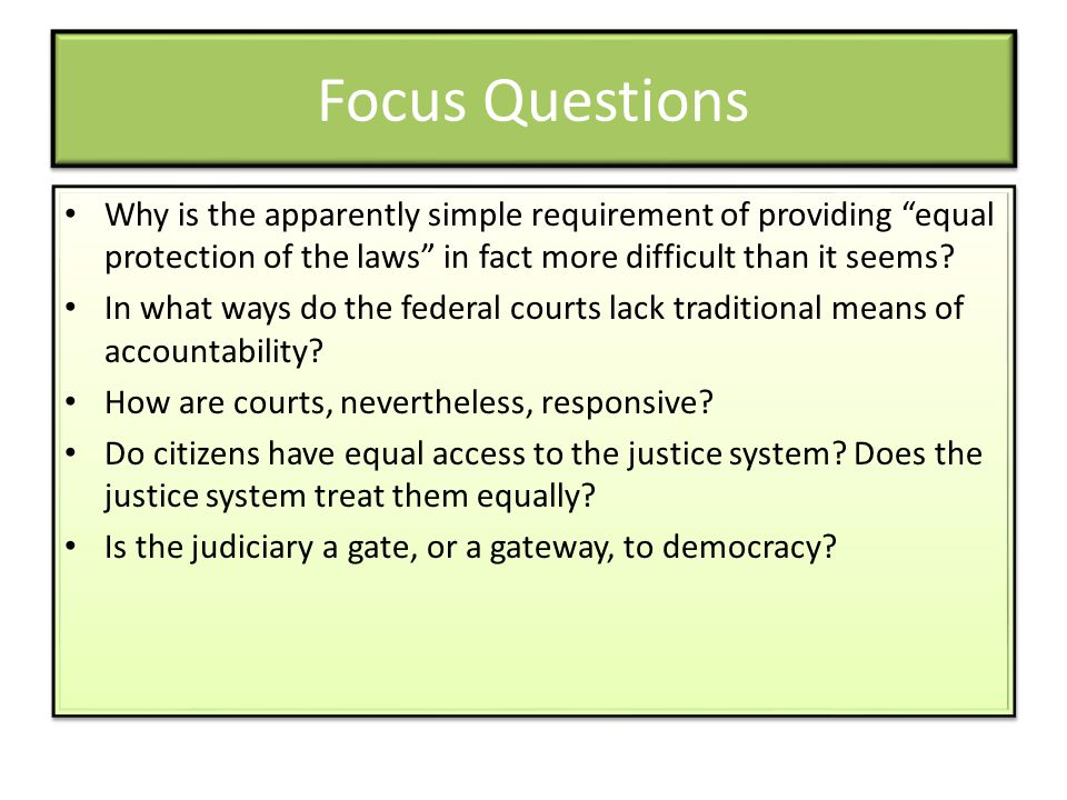 "Focus Questions Why is the apparently simple requirement of providing ""equal protection of the laws"" in fact more difficult than it seems? In what way"