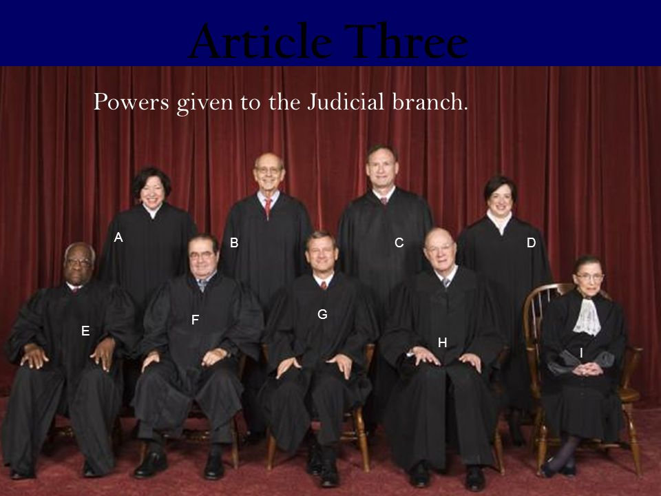 Article Three E A F H CD I B Powers given to the Judicial branch. G