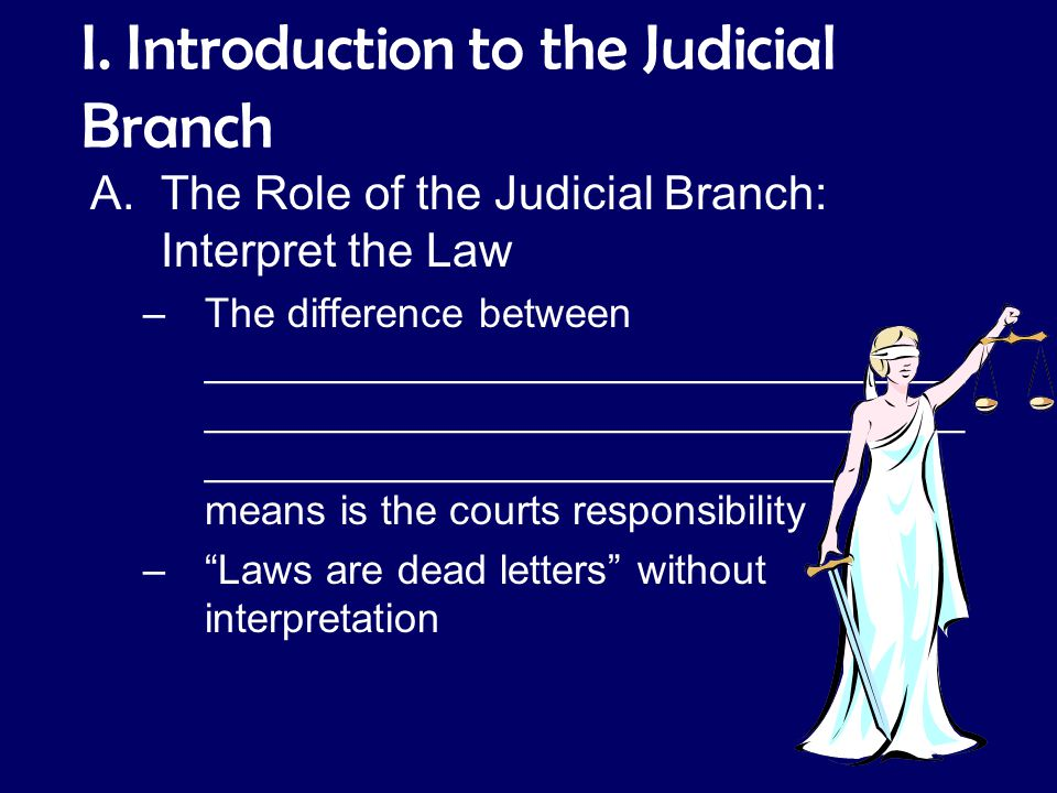I. Introduction to the Judicial Branch A.The Role of the Judicial Branch: Interpret the Law –The difference between _________________________________