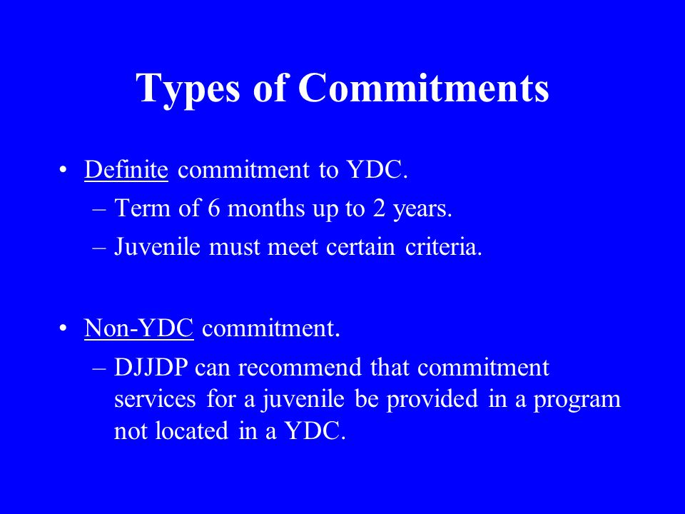 Types of Commitments Definite commitment to YDC. –Term of 6 months up to 2 years.