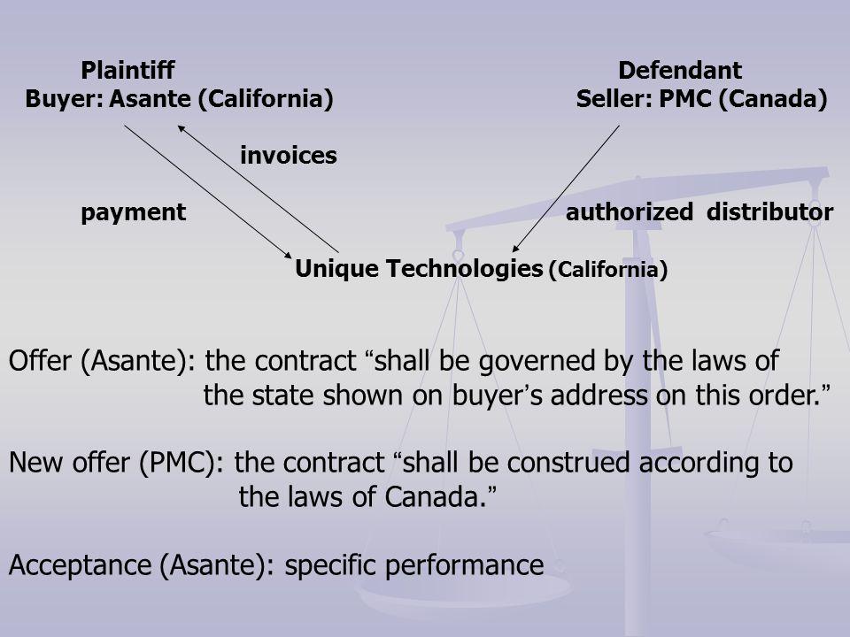Plaintiff Defendant Buyer: Asante (California) Seller: PMC (Canada) invoices payment authorized distributor Unique Technologies (California) Offer (As
