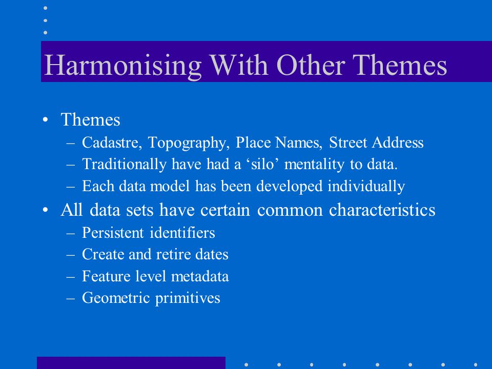 Harmonising With Other Themes Themes –Cadastre, Topography, Place Names, Street Address –Traditionally have had a 'silo' mentality to data.