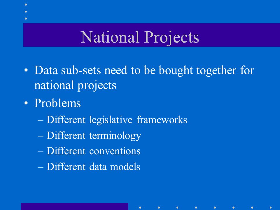National Projects Data sub-sets need to be bought together for national projects Problems –Different legislative frameworks –Different terminology –Different conventions –Different data models