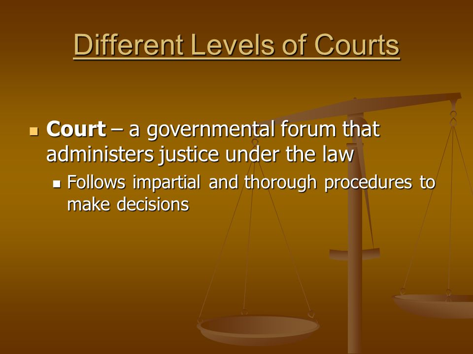 Different Levels of Courts Court – a governmental forum that administers justice under the law Court – a governmental forum that administers justice u