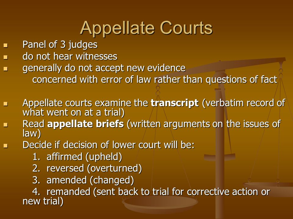 Appellate Courts Panel of 3 judges Panel of 3 judges do not hear witnesses do not hear witnesses generally do not accept new evidence generally do not