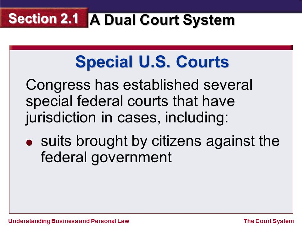 Understanding Business and Personal Law A Dual Court System Section 2.1 The Court System Special U.S. Courts Congress has established several special