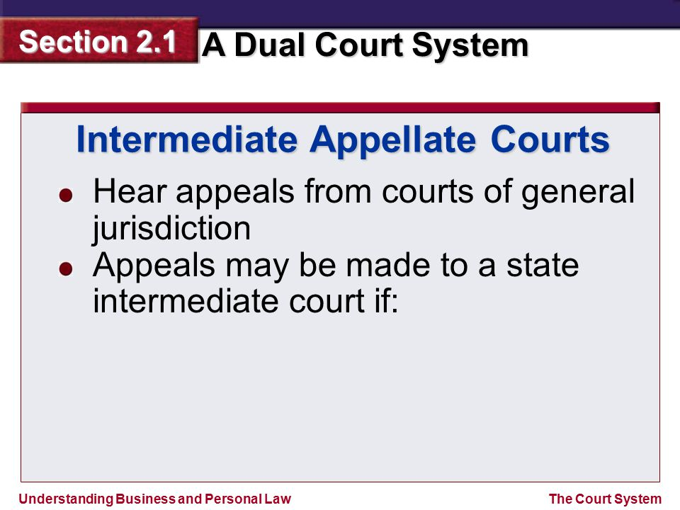 Understanding Business and Personal Law A Dual Court System Section 2.1 The Court System Intermediate Appellate Courts Hear appeals from courts of gen
