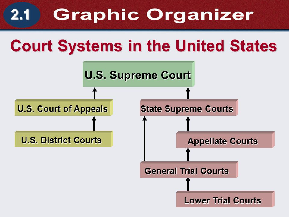 Understanding Business and Personal Law A Dual Court System Section 2.1 The Court System 2.1 Court Systems in the United States U.S. Supreme Court U.S