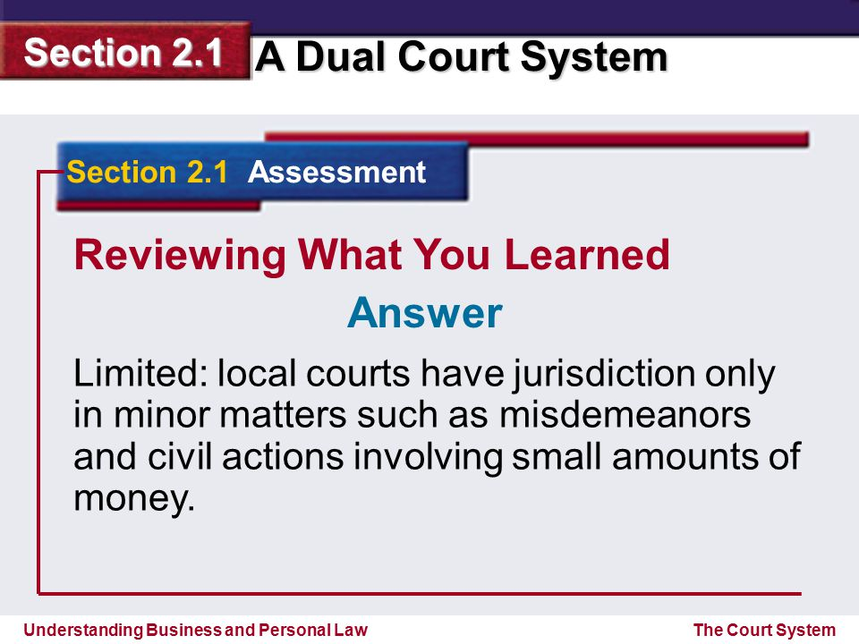 Understanding Business and Personal Law A Dual Court System Section 2.1 The Court System Reviewing What You Learned Limited: local courts have jurisdi