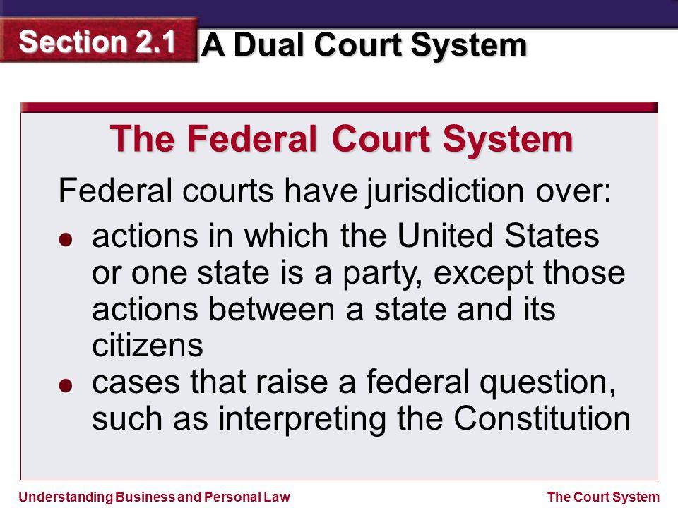 Understanding Business and Personal Law A Dual Court System Section 2.1 The Court System The Federal Court System Federal courts have jurisdiction ove
