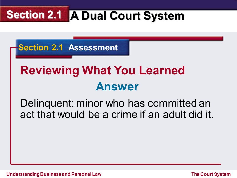 Understanding Business and Personal Law A Dual Court System Section 2.1 The Court System Reviewing What You Learned Delinquent: minor who has committe