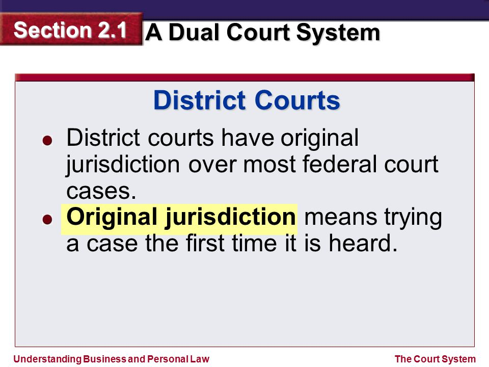 Understanding Business and Personal Law A Dual Court System Section 2.1 The Court System District Courts District courts have original jurisdiction ov
