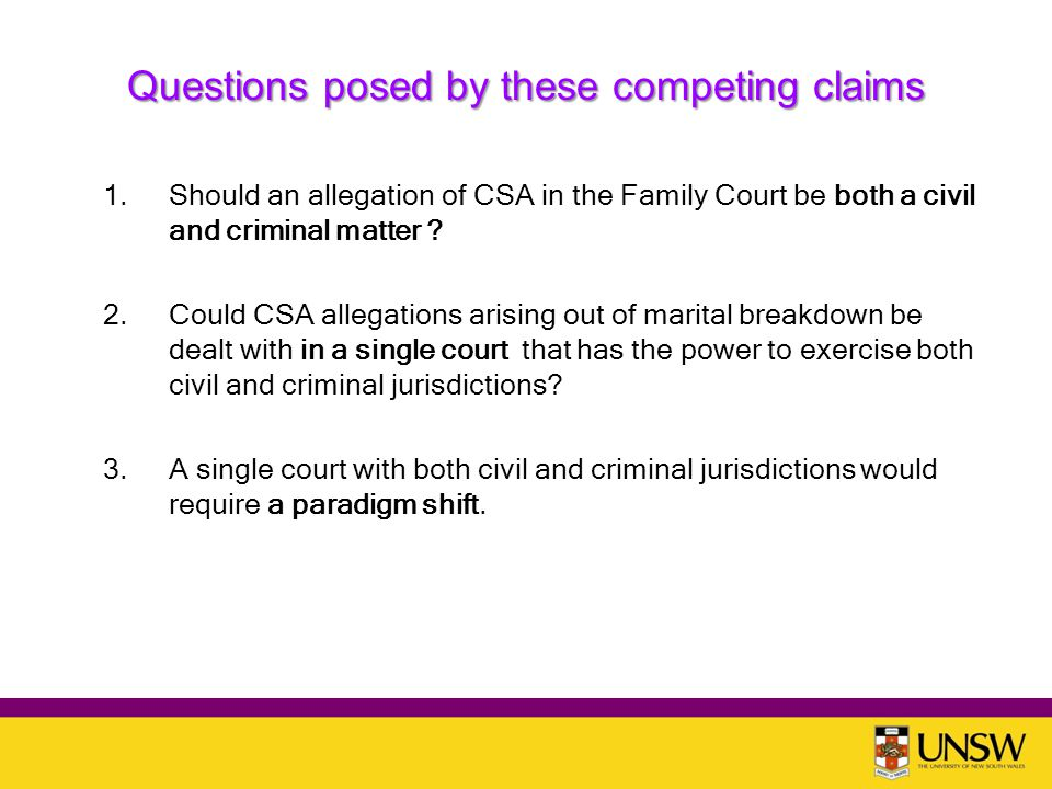 Questions posed by these competing claims 1.