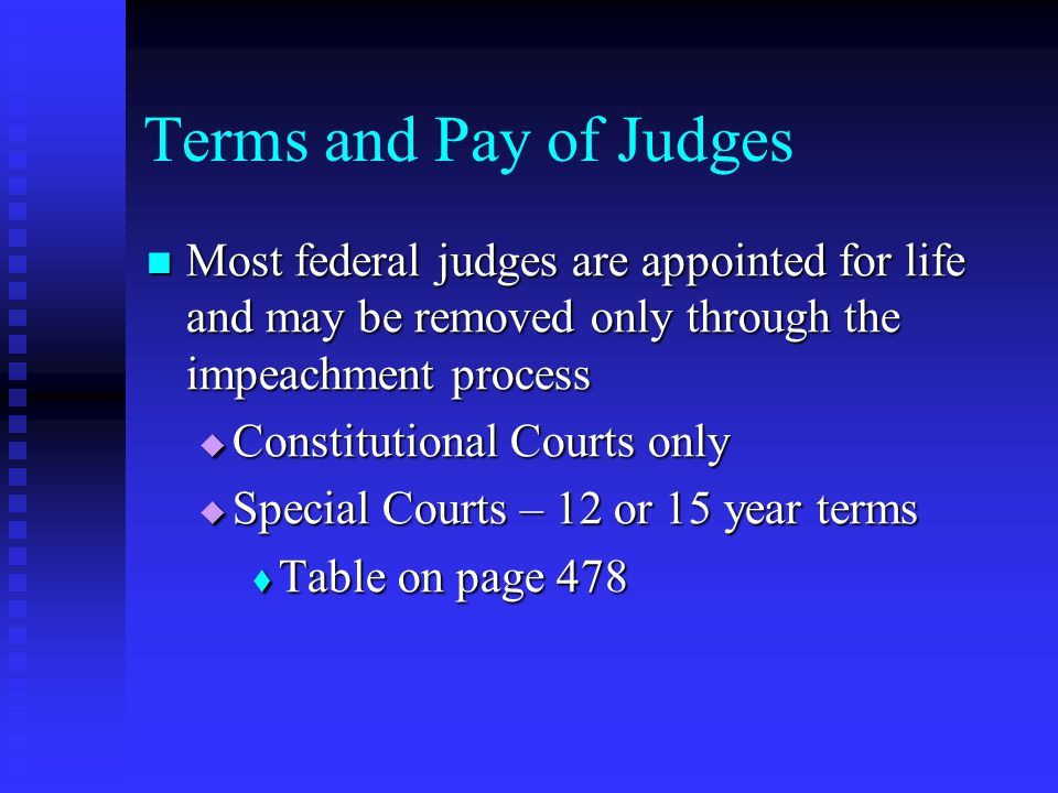 Terms and Pay of Judges Most federal judges are appointed for life and may be removed only through the impeachment process Most federal judges are appointed for life and may be removed only through the impeachment process  Constitutional Courts only  Special Courts – 12 or 15 year terms  Table on page 478
