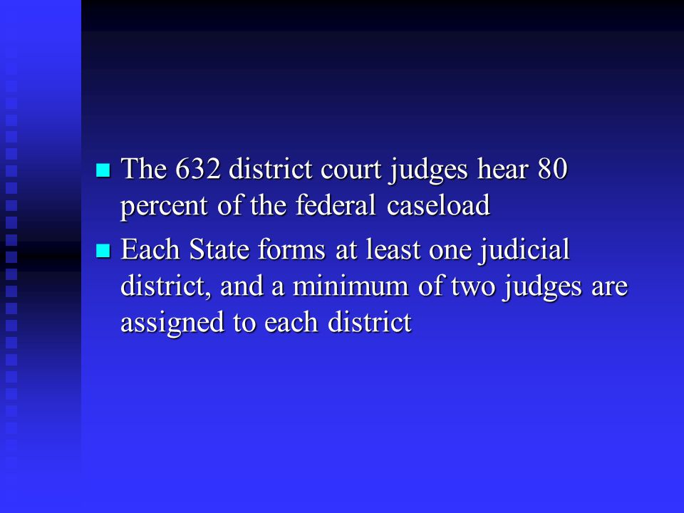 The 632 district court judges hear 80 percent of the federal caseload The 632 district court judges hear 80 percent of the federal caseload Each State forms at least one judicial district, and a minimum of two judges are assigned to each district Each State forms at least one judicial district, and a minimum of two judges are assigned to each district