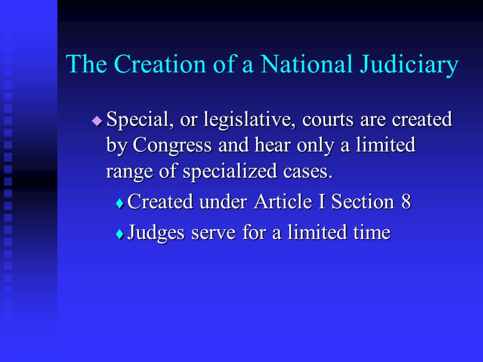 Court Officers Magistrates – issue warrants of arrest, set bail, and can try certain minor offenses Magistrates – issue warrants of arrest, set bail, and can try certain minor offenses Bankruptcy judges – at least one per district court Bankruptcy judges – at least one per district court  326 in the US, serve 14 year terms United States attorneys – try cases before the district courts United States attorneys – try cases before the district courts Federal marshals – national police Federal marshals – national police