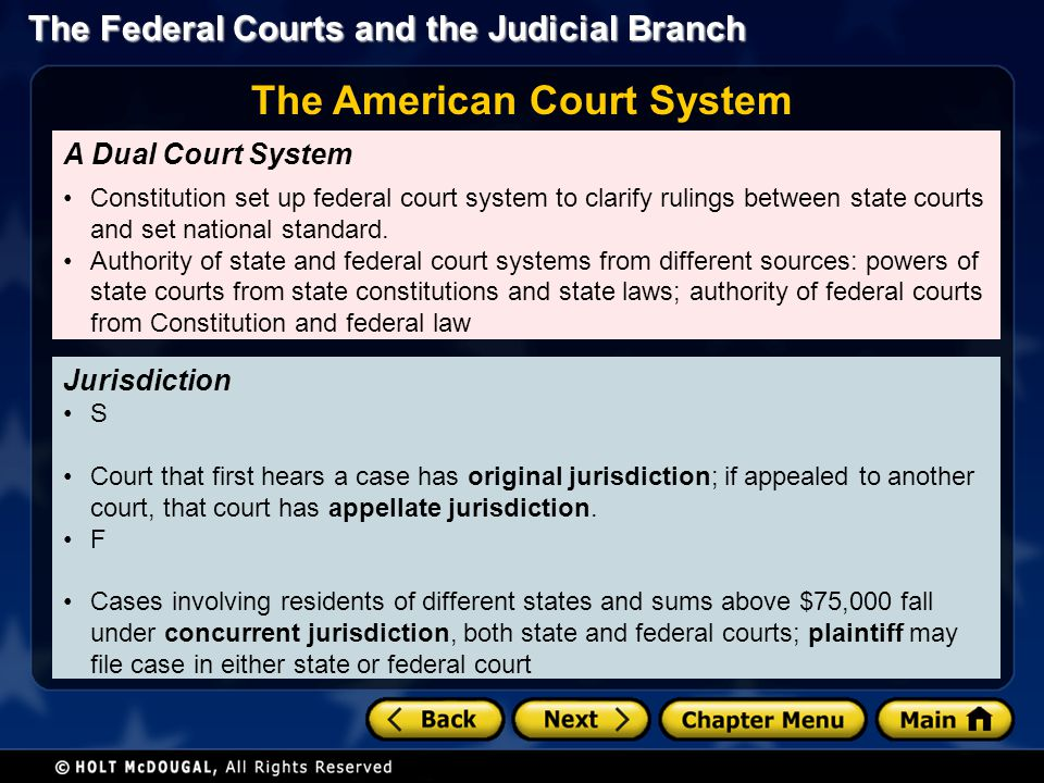 The Federal Courts and the Judicial Branch T Outlined three-tiered system of federal courts; has remained virtually the same since original proposal Supreme Court is at top; below are circuit courts, district courts Judiciary Act of 1789 Each state must have one district court District courts have original jurisdiction over most federal cases District Courts Structure of the Federal Court System