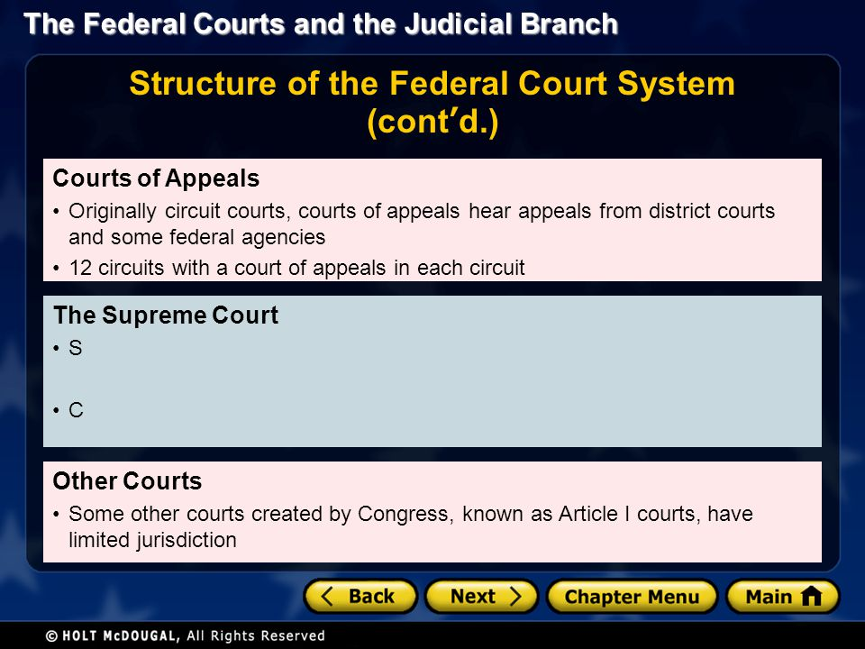 The Federal Courts and the Judicial Branch Courts of Appeals Originally circuit courts, courts of appeals hear appeals from district courts and some f