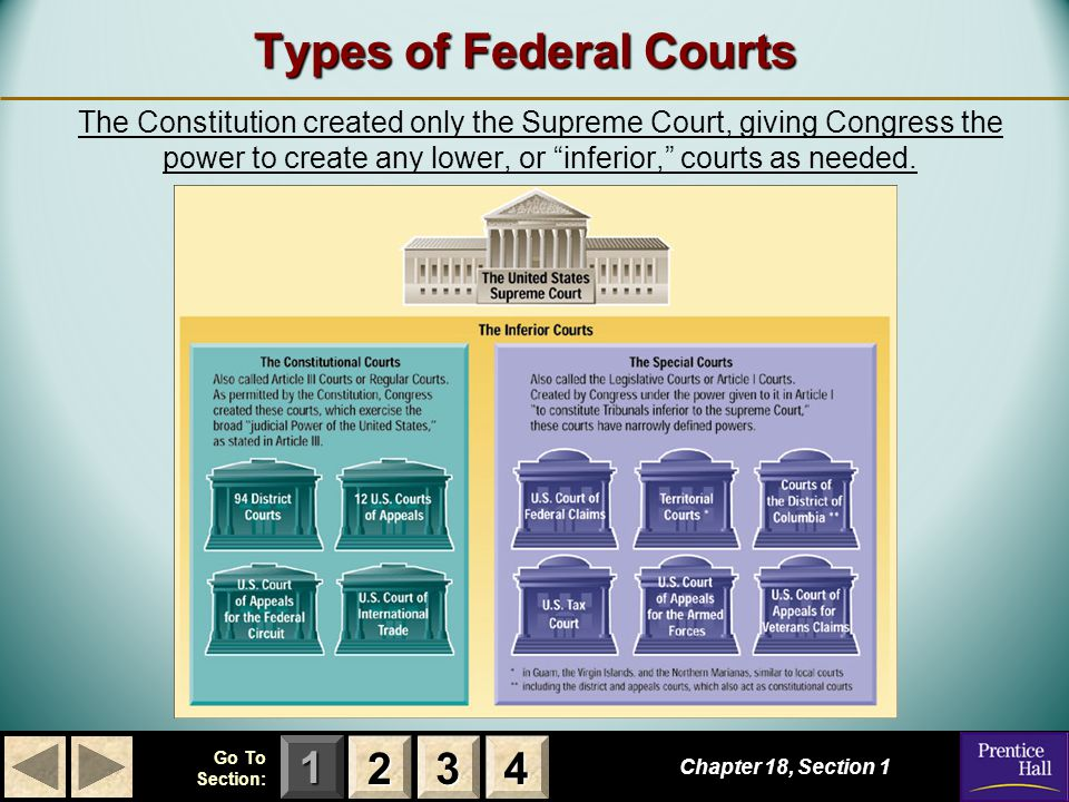 123 Go To Section: 4 Federal Court Jurisdiction Chapter 18, Section 1 2222 3333 4444 Jurisdiction is defined as the authority of a court to hear (to try and to decide) a case.