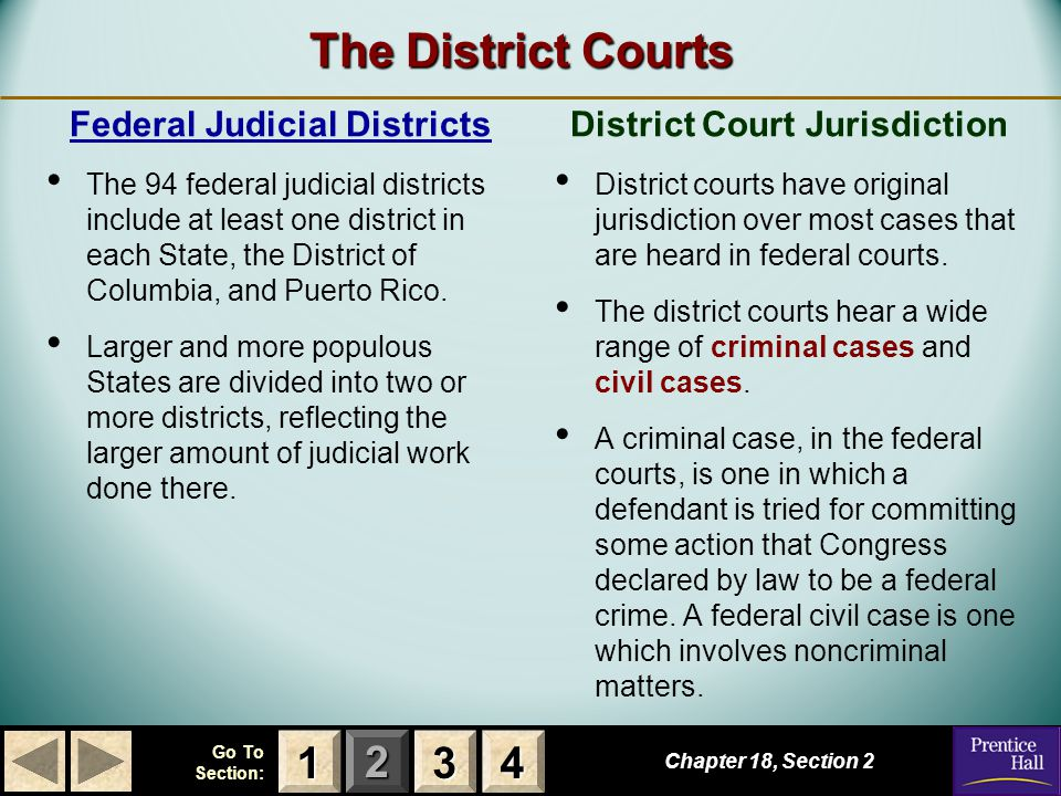 123 Go To Section: 4 The District Courts Chapter 18, Section 2 3333 4444 1111 Federal Judicial Districts The 94 federal judicial districts include at least one district in each State, the District of Columbia, and Puerto Rico.