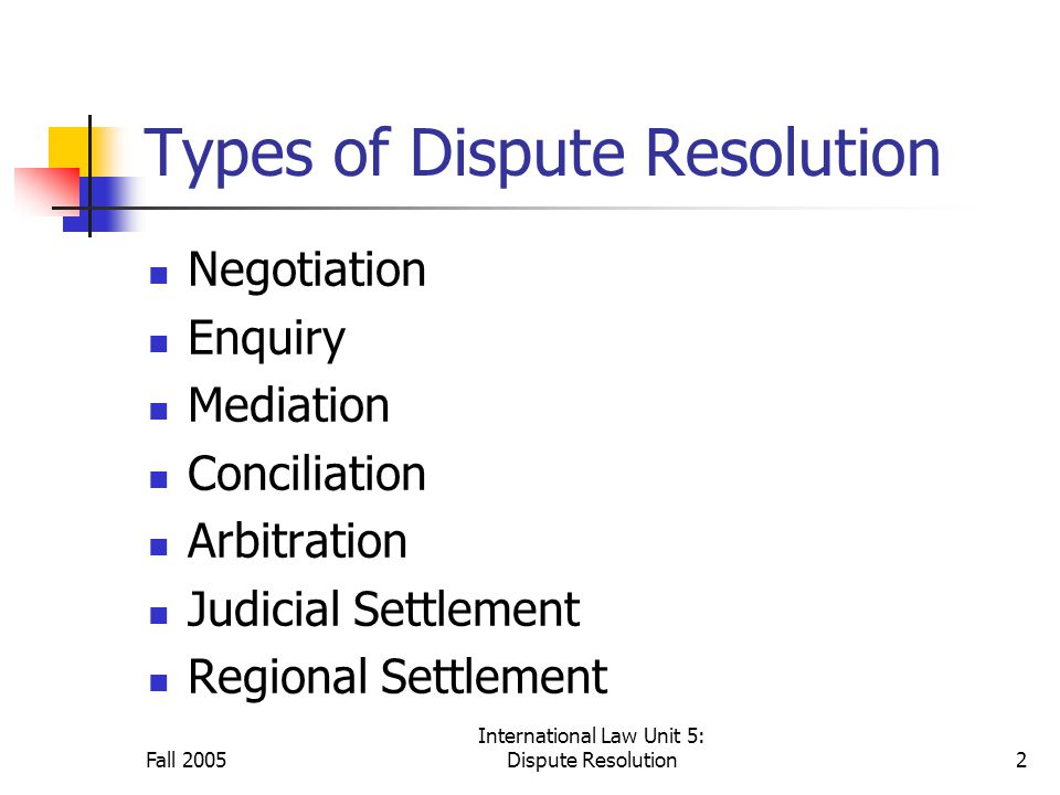 International Law Unit 5: Dispute Resolution2 Types of Dispute Resolution Negotiation Enquiry Mediation Conciliation Arbitration Judicial Settlement Regional Settlement