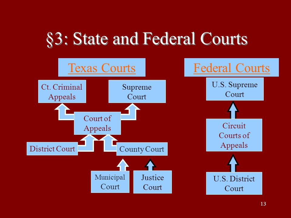 13 §3: State and Federal Courts Ct. Criminal Appeals Supreme Court Court of Appeals District Court County Court Municipal Court Justice Court Texas Co
