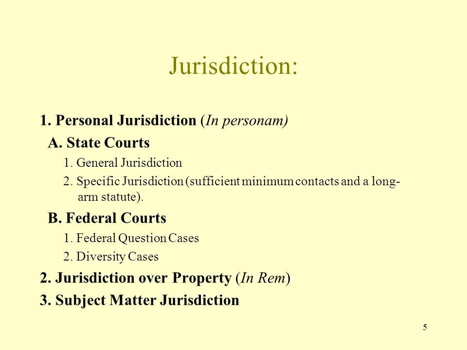 5 Jurisdiction: 1. Personal Jurisdiction (In personam) A. State Courts 1. General Jurisdiction 2. Specific Jurisdiction (sufficient minimum contacts a