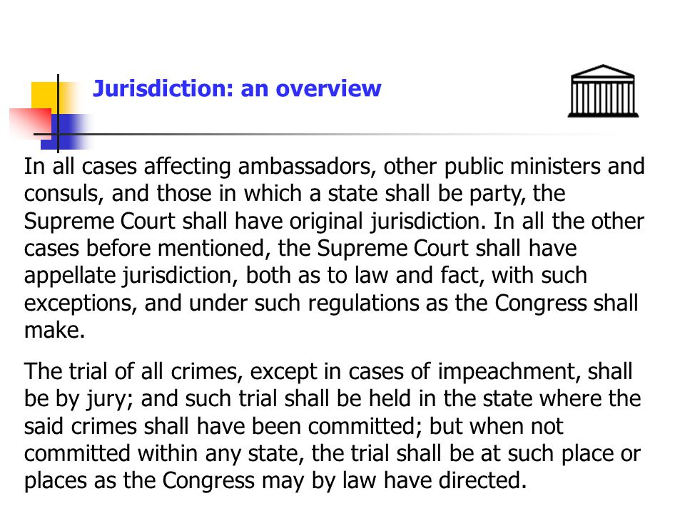 Jurisdiction: an overview In all cases affecting ambassadors, other public ministers and consuls, and those in which a state shall be party, the Supreme Court shall have original jurisdiction.